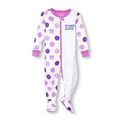 a46c806b3 Girls Long Sleeve Rubber Ducky Print Hooded One-Piece Sleeper