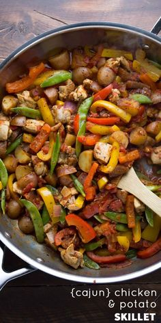 Healthy Chicken Skillet with Cajun Potatoes and Veggies. A one pot, 30 ...
