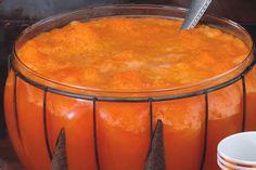 Slushy Halloween Punch 12 oz kool-aid (orange kool aid unsweetened flavored drink mix) 2 cups sugar 46 ozs pineapple juice 46 ozs water (juice) 2 liters 7-up (ginger ale or 2 liters 7 up soda)