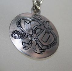 Double Heart Dove Tattoo Silver Necklace with ANY Two Intials