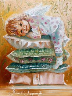 Ангелок очень любит мечтать, рисовать и ловить желания, оберегать и воплощать их в жизнь. А еще, слушать сказки- воздушные, красочные и, непременно, с хорошим концом:-) Выполнена на холсте маслом, с небольшим шелковистым блеском.