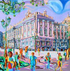 PALACIO REAL (MADRID).Oleo sobre lienzo. 80 x80 x 3,5 cm.