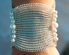 Bridal+cuff+wire+crochet+handmade+bracelet+with+pearls+by+KvinTal,+$74.00
