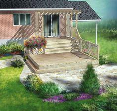 La tranquillité assurée! Cette terrasse en bois s'étend sur deux paliers. Le premier est surélevé et ancré à la maison. Il est complètement recouvert d'une pergola avec panneaux de treillis. Le deuxième palier, situé près du sol, comprend une boîte à fleurs et un garde-corps en treillis d'un côté.