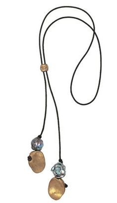 TALISMAN LARIAT - $295.00  Adjustable leather lariat with bronze talismans and Biwa pearls - 36 inches