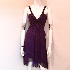 "☔️ Jodi Kristopher Formal Brown/ Purple Dress Jodi Kristopher Formal Glittery Sleeveless Brown/ Purple Dress with High-Low and Deep V Neckline. Size Small 100% Polyester. Dry Clean Only. Measurements: Armpit to Armpit 14.5"", Waist 14"", Front Length 41"". Back Length 47"". Jodi Kristopher Dresses High Low"