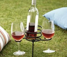 Shop picnic beverage stake from Pottery Barn. Our furniture, home decor and accessories collections feature picnic beverage stake in quality materials and classic styles. Wine Glass Storage, Do It Yourself Furniture, My Pool, Summer Picnic, Picnic Time, Picnic Set, Country Picnic, Wine Country, Summer Fun