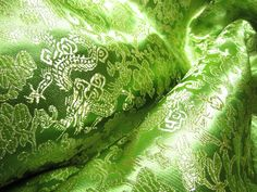 "Chinese brocade fabric in lime, bright olive green with golden dragons - 1 yard, brocade with dragon pattern, 35.5"" wide Chinese fabric"