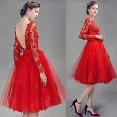 Red Lace Tea Length Long Sleeve Prom Party Tutu Dresses for Women SKU-401095 …