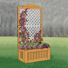 "Large Lattis Planter Beautiful planter for all your climbing vines. Great for roses! 104""H x 53""W x 28""D Pattern #2449 $14.95 (crafting, crafts, woodcraft, pattern, woodworking) Pattern by Sherwood Creations"