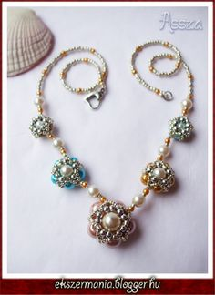 Beaded Bead Necklace - directions and schema, but do translate.  #Seed #Bead #Tutorials