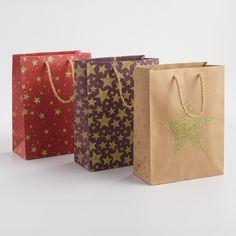 Medium Glitter Stars Gift Bags Set of 3 | World Market