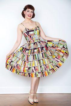1950s Style Chelsea Book Print Dress - Unique Vintage - Prom dresses, retro dresses, retro swimsuits.