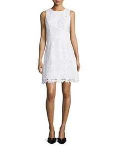 kate spade new york sleeveless lace a-line dress, fresh white   (183.95)