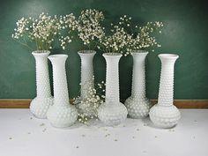 #wedding  Vintage MILKGLASS VASES Set/6 WEDDING Hobnail Milk Glass Bud Vase by LavenderGardenCottag on Etsy