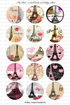 "Collage of pretty Eiffel tower illustrations in circles고카지노MEAT5.COM I really love Eiffel tower. :) And someday I wanna go to France And take pictures with the Eiffel tower :""> Paris Party, Paris Theme, Tour Eiffel, Thema Paris, Image Paris, Etiquette Vintage, Image Digital, Bottle Cap Crafts, Bottle Caps"