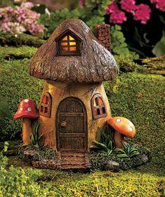 Solar Lighted Fairy Garden Gnome Home Houses Mushroom Farmhouse ...