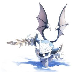 Meta Knight made by Meta Knight, Knight Art, Monster Girl Encyclopedia, Kirby Games, Kirby Character, Kingdom Hearts 3, Video Game Art, Video Games, Cool Sketches