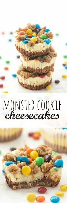 These Monster Cookie Cheesecakes are made with a naturally gluten free peanut butter oatmeal cookie base and M&M's!