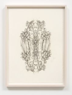 Aurel Schmidt and Pierre Molinier | M+B  AUREL SCHMIDT Untitled (Rorschach Flowers 1), 2014 signed and dated verso pencil, colored pencil on paper paper size: 20-1/2 x 15-1/4 inches framed size: 23 x 17-1/4 inches unique