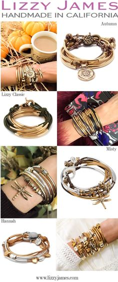 Shine & stay stylish this season with the Handmade USA Lizzy James Gold Collection! The 22kt gold collection offers an array of styles that can be worn as both a wrap bracelet & necklace.  Choose from over 50 different leather colors and personalize your wrap by adding a charm of your choice - over 100 different charms to choose from. Versatility in an accessory never looked this beautiful. #LizzyJamesInc