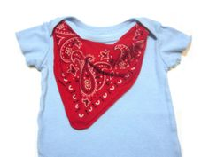 Red Bandana Baby Bodysuit  Western Cowboy Photo Prop by griffencat, $16.00