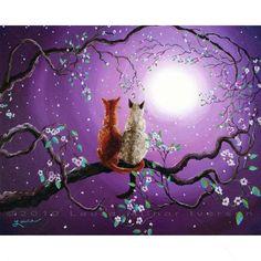 Abyssinian Cat Siamese Zen Cherry Blossoms Print - 1