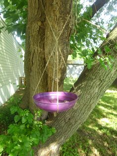 Hanging Bird Bath - use something that can hold water and tie some sort of string around the bottom.  Maybe glue it onto the bottom so it doesn't slip?