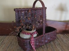 Primitive Painted Handwoven Countertop by 1803ohiofarmbaskets,