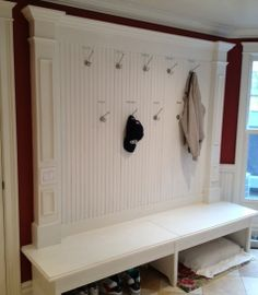 beadboard hooks | beadboard and high hooks (so you don't hit your head on them when you ...