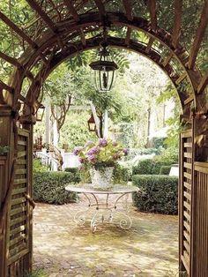 view to a beautiful courtyard beyond