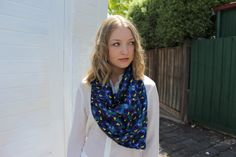 Digitally Printed Silk Scarf - Blue Tulip by CoconutTextiles on Etsy