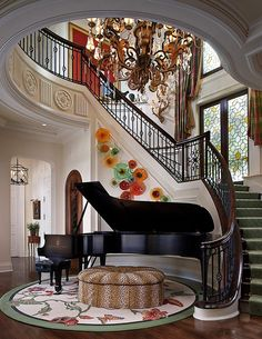 If you have no idea where to set the piano we present you some functional piano room decor ideas.Most often the piano is placed in the living room, the hallway, the library or in a separate room if you have ability for that. Grand Piano Room, Piano Room Decor, Rooms Home Decor, Country House Design, Simple House Design, Country House Interior, Home Design Software, Home Design Plans, Modern Home Interior Design