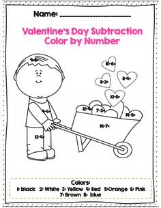 Valentine Color by Number, Addition & Subtraction Within