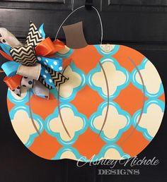 Pumpkin Canvas, Fall Door Hangers, Pumpkin Door Hanger, Wood Pumpkins, Fall Door Decorations, Wooden Cutouts, Fall Projects, Front Door Decor, Fall Diy