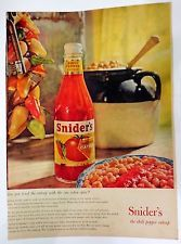 Vintage 1959 Ad print Sniders hotter the chili pepper catsup#Ap-1121