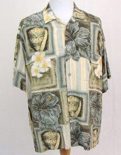 Jams World Hawaiian Shirt XL Ariel Khaki Floral Hibiscus Daisy Rayon Aloha Camp #JamsWorld #Hawaiian