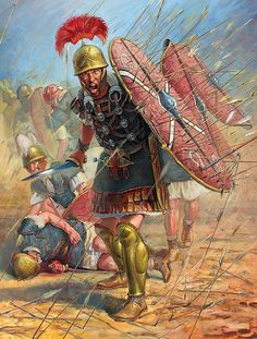 A Roman centurion leads his legionaries through a storm of arrows at the Battle of Dyrrhachium.