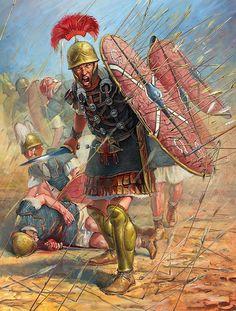 A Roman centurion leads his legionaries through a storm of arrows at the Battle of Dyrrhachium ~ Radu Oltean.