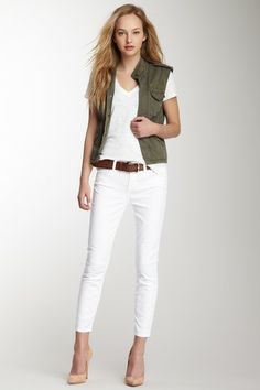 white and army green vest - clean look for spring/summer