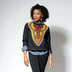 African Print Dashiki Sweatshirt (Yellow) – D'IYANU