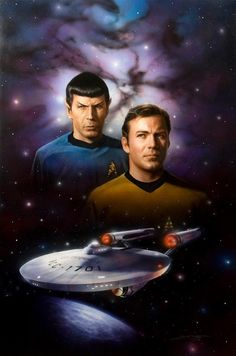 Spock, Kirk, and Enterprise. Wish I knew the artist so I could give credit. This is a great piece.