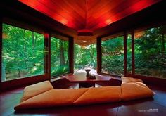 """The new owners of Frank Lloyd Wright's Palmer House in Ann Arbor, Michigan have opened the house for rental guests. The unique home from the early 1950s was one of the last in Wright's career and has been """"perfectly preserved"""" — it's still furnished with the collection of Wright-designed furniture that was custom designed to fit in the home's unusual triangular geometry."""