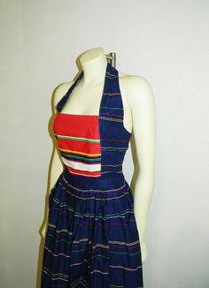 Vintage Striped Halter Dress with Full Skirt by lulusdressingroom, $40.00