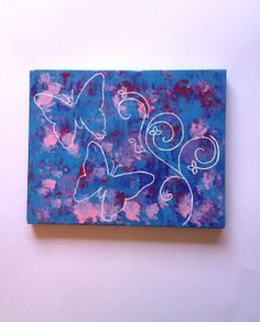Blue butterflies original acrylic canvas painting by StarrJoy16, $27.00