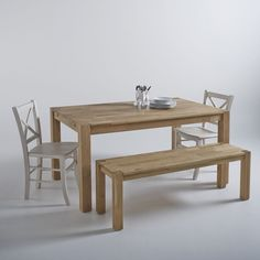 Table, chêne massif, 2 allonges, Adelita