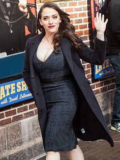 Star Tracks: Wednesday, February 26, 2014 | RIGHT ON TIME | Kat Dennings of 2 Broke Girls gives a wave to fans outside of the Late Show with David Letterman studio in New York City on Tuesday.