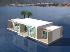 Floating house or boat-house Floating Restaurant, Floating Hotel, Floating Boat, Floating Architecture, Water House, Boat House, Tiny House Movement, Little Houses, Home Fashion