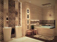 Banheiro de luxo. Achei lindas as cubas com iluminação e os elhos na vertical.