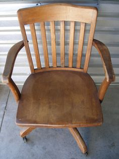 reserved vintage oak desk chair classic office decor wood swivel arm chair